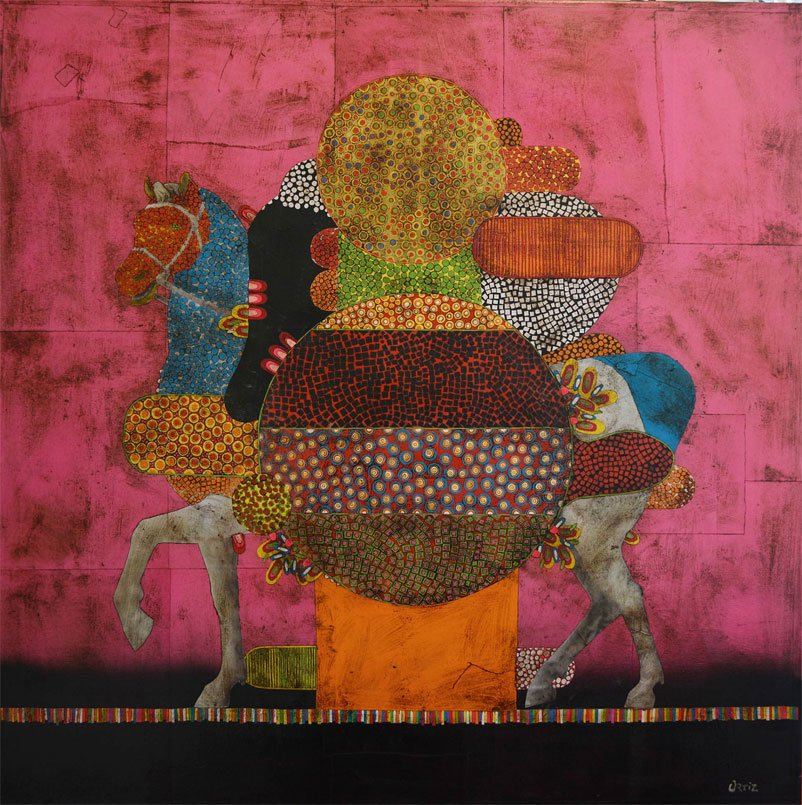 Gustavo Ortiz Collages - equestrian portrait Nº 28