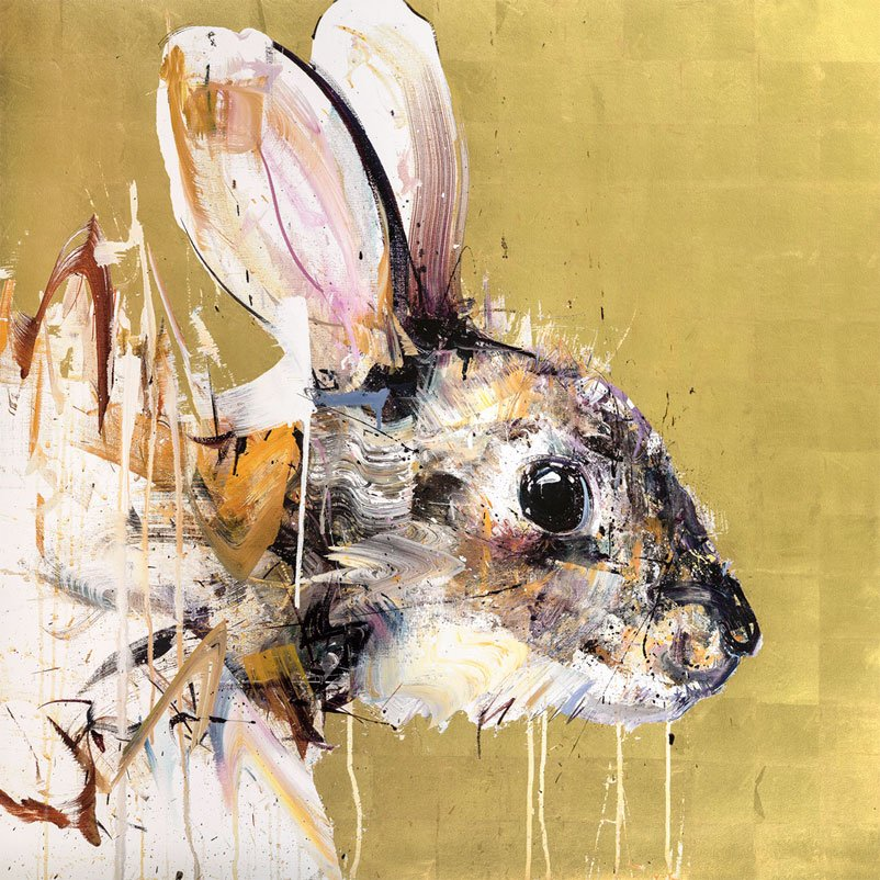 Dave White Prints - Rabbit Gold Leaf