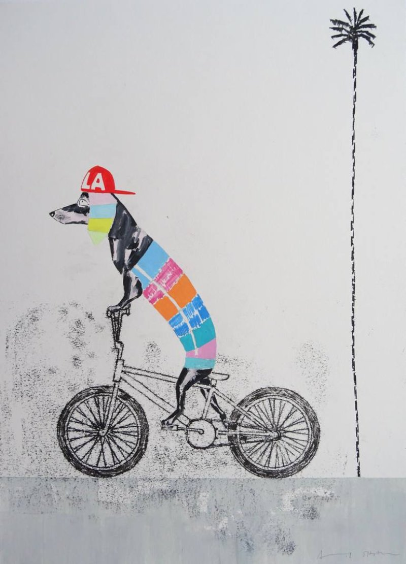LA Dachshund BMX Dog Kicking Up A Sandstorm On The Boulevard by Andy Shaw