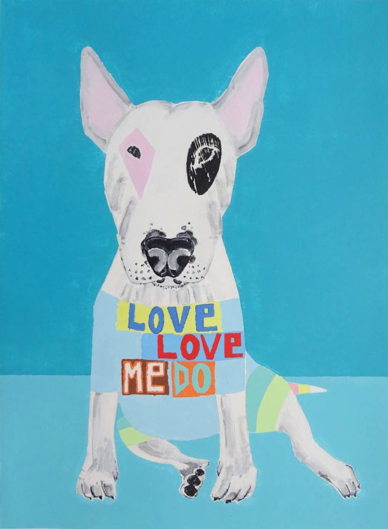 Love Love Me Do Bull Terrier Painting by Andy Shaw