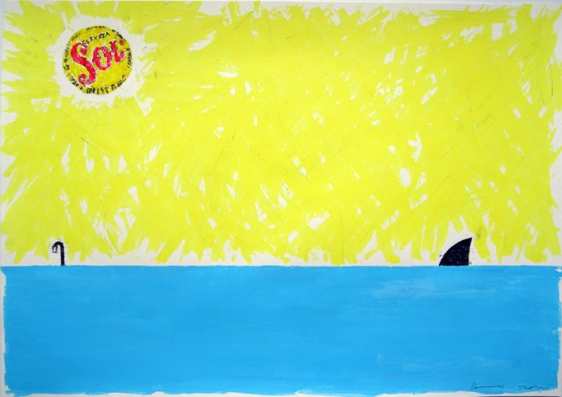 Sun, Sea, Sky, Snorkel, Shark Painting by Andy Shaw