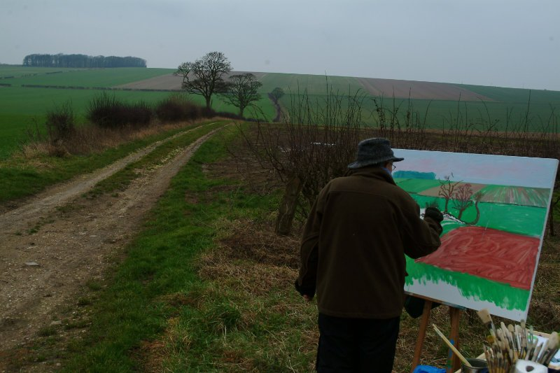David Hockney painting the Yorkshire Wolds
